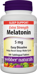 Webber Naturals Melatonin 5mg, Extra Strength & Easy Dissolve, 300 tabs