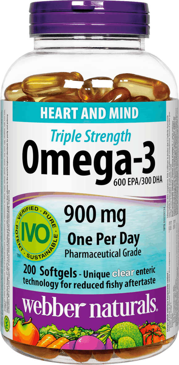 Webber Naturals Triple Concentration Omega-3 900mg, 200 softgels