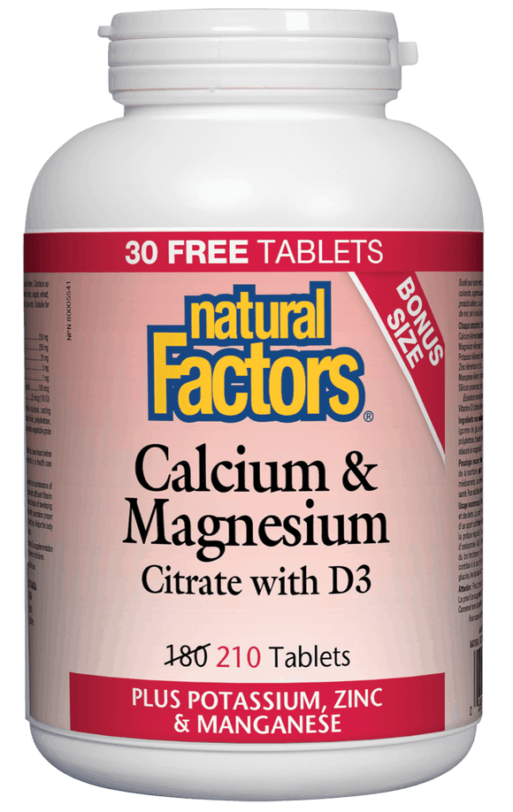 Natural Factors Calcium and Magnesium Citrate with D, Plus Potassium and Zinc, 210 tabs