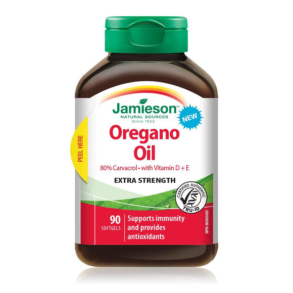 Jamieson Oregano Oil with Vitamin D + E Extra Strength 90 softgels