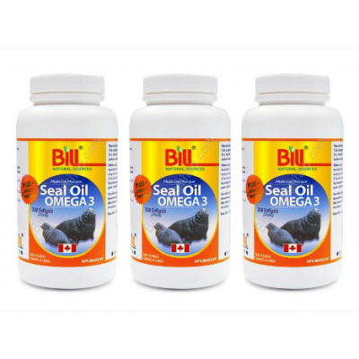 (Promotional Item) 3 x Bill Naturals Seal Oil Omega-3, 500mg, 300 softgels