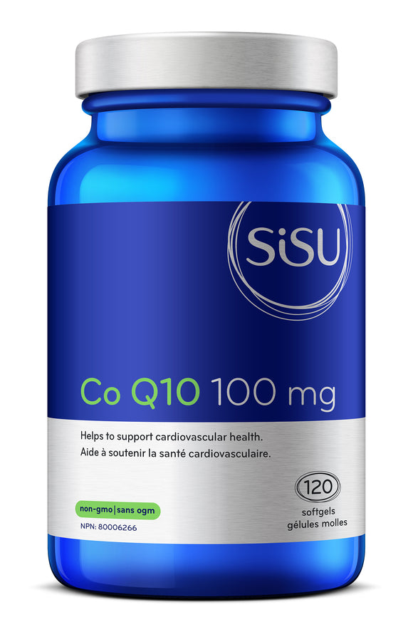Sisu Co Q10 100 mg blue bottle 120 softgels non gmo