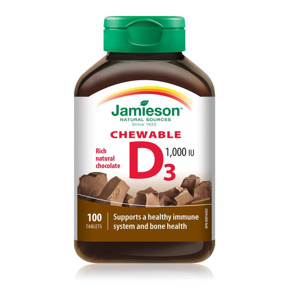 Jamieson Chewable Vitamin D, 1000IU, Chocolate flavour, 100 tablets