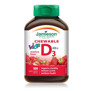 Jamieson Kid's Vitamin D 400 IU, Panda-shaped Strawberry flavour 100 tablets