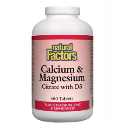 Natural Factors Calcium & Magnesium Citrate with D, Plus Potassium & Zinc, 360 tabs