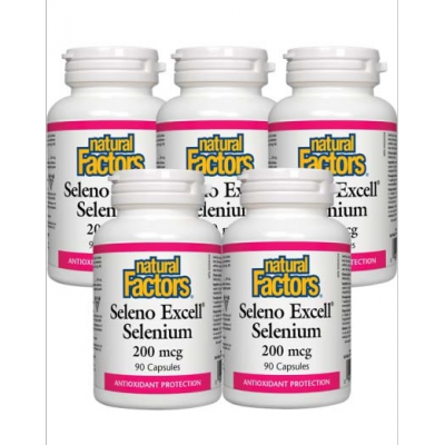 [Promotional Item] 5x Natural Factors SelenoExcellandtrade; Selenium 200mcg, 90 capsules