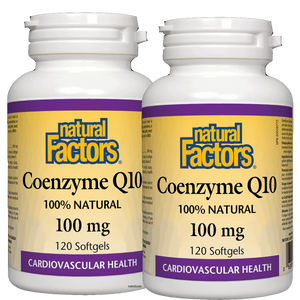 (Promotional Product) Natural Factors Coenzyme Q10, 100 mg, 120 softgels - 2 Pack