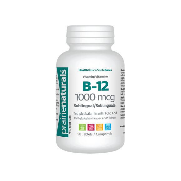 Prairie Naturals Sublingual B12 Vitamin – 1000mcg 90 tablets