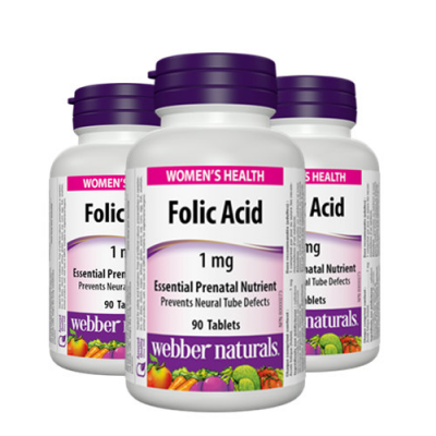 Webber Naturals THREE PACK-  Folic Acid 1mg with C 20 mg, 90 tabs each bottle