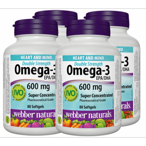 (Promotional Item) Webber Naturals 4 x Omega-3, EPA400:DHA200, 80 Softgel