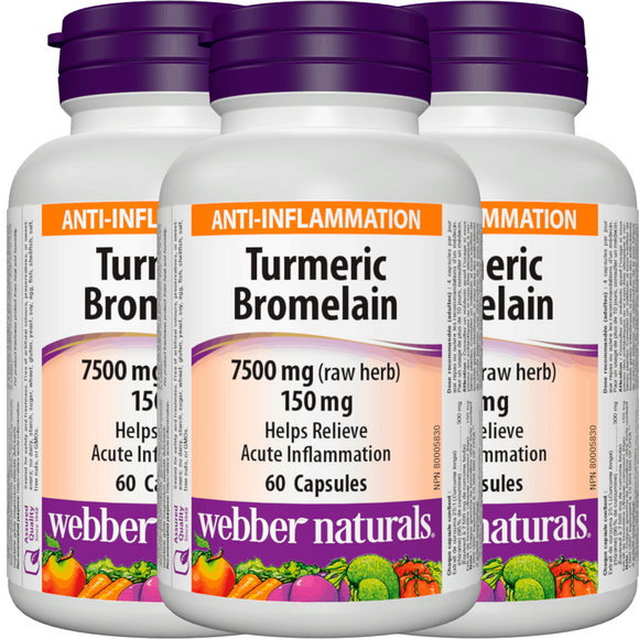 [Promotional Item] 3x Webber Naturals Turmeric and Bromelain, 60 caps