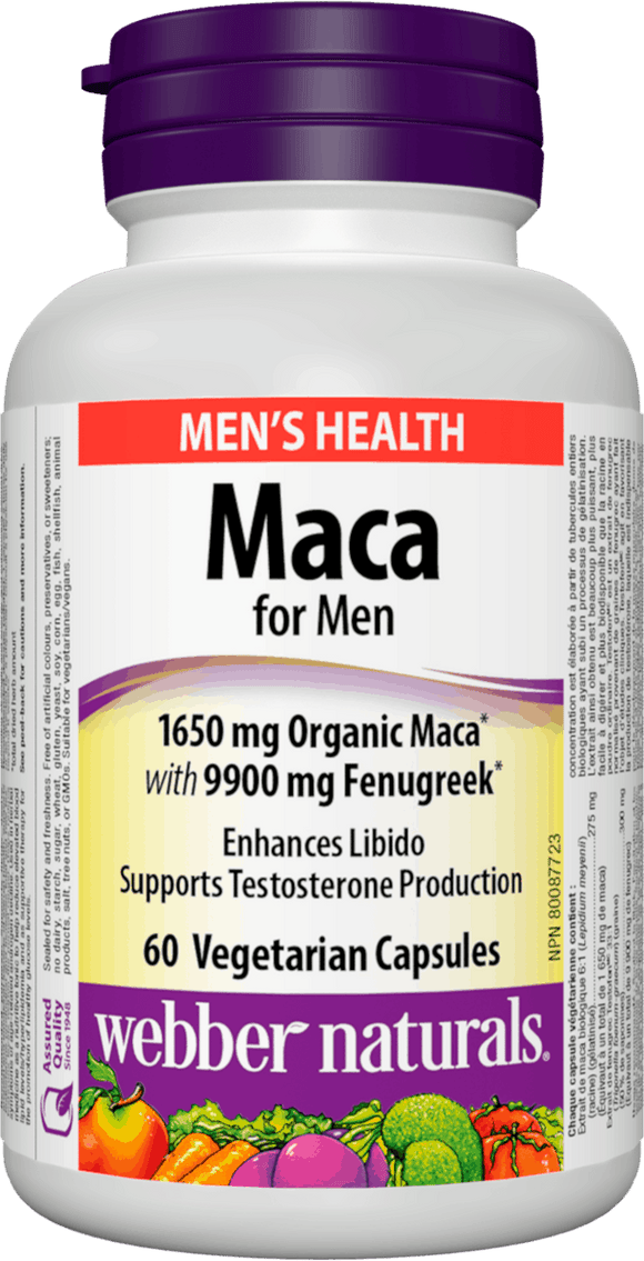 Webber Naturals Maca for Men 1650 mg Organic Maca with 9900 mg Fenugreek