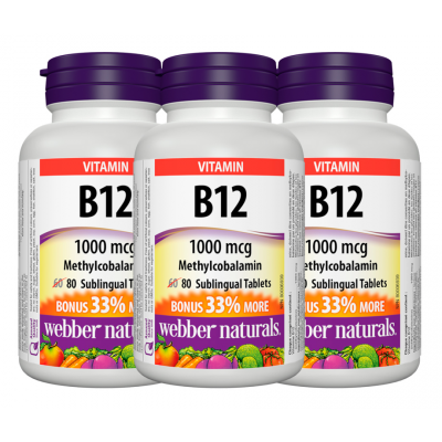 [Promotional Item] 3x Webber Naturals B12, 1000 mcg Sublingual (Methylcobalamin), 80 Tablets Bonus Pack