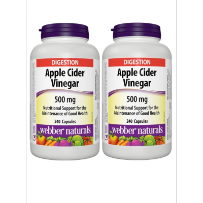 (Promotional Item) Webber Naturals 2 x Apple Cider Vinegar 500mg, 240 Caps