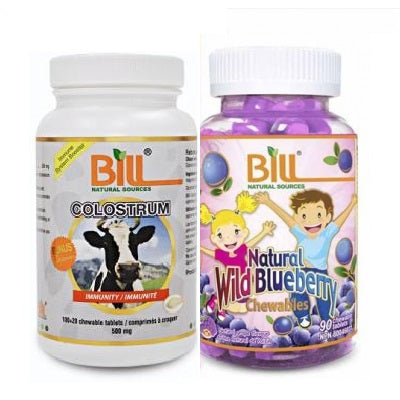 Bill Natural Sources Colostrum 500mg, 120's  + Wild Blueberry 700 mg, 90's