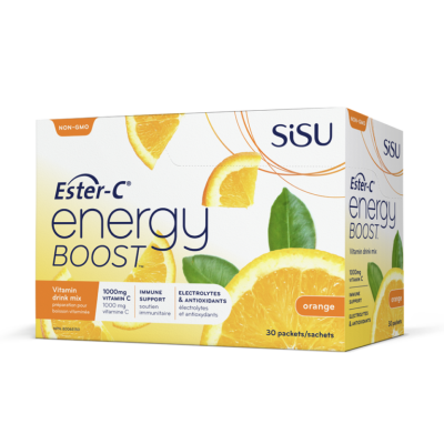 Sisu Ester-C Energy Boost, Natural Orange Flavour, 30 packets