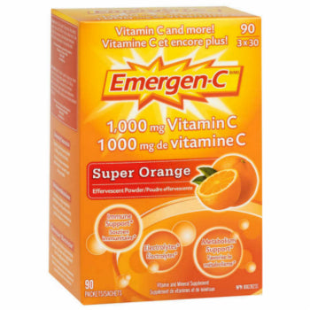 Emergen-C Vitamin C Effervescent Powder, Super Orange, 90 packets