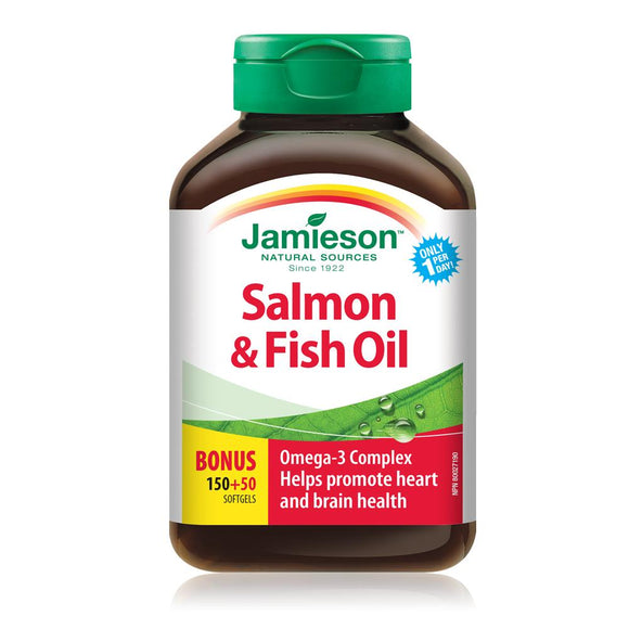Jamieson Salmon and Fish Oils Omega-3 Complex, 150+50 BONUS softgels