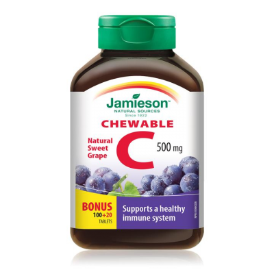 Jamieson Chewable Vitamin C, Grape Juice, 500 mg, 100 tablets + 20 FREE BONUS