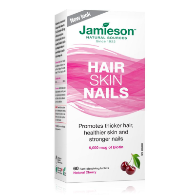 Jamieson Hair, Skin, Nails Biotin Natural Cherry,60 tablets