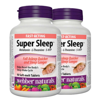 (Promotion Item) 2x Webber Naturals Super Sleep Melatonin Plus L-Theanine & 5-HTP, 90 soft-melt tablets