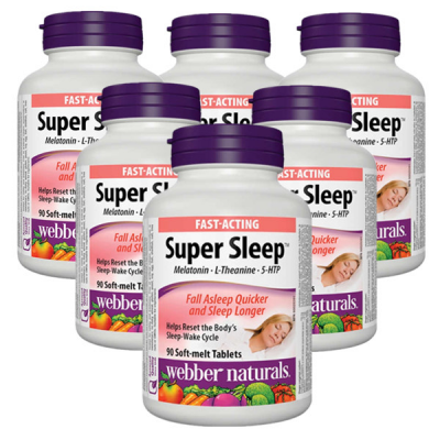 (Promotion Item) 6x Webber Naturals Super Sleep Melatonin Plus L-Theanine and 5-HTP, 90 soft-melt tablets
