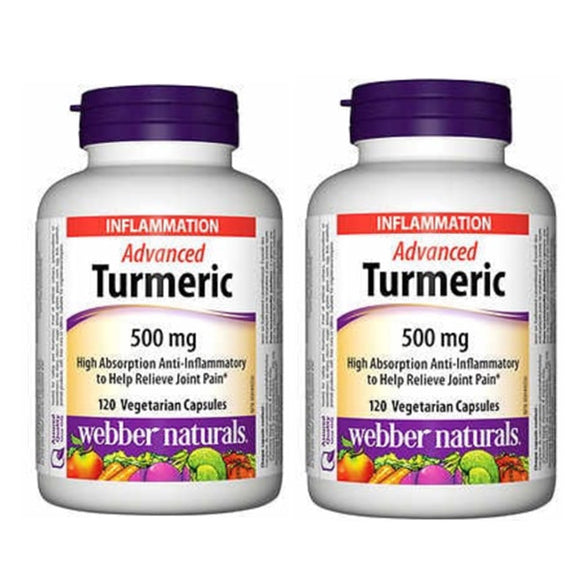 (Promotion Item) 2x Webber Naturals Advanced Turmeric, 500 mg, 120 vcaps