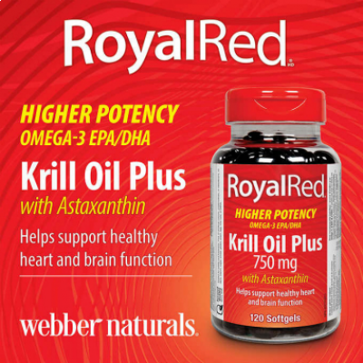 Webber Naturals Royal Red Extra Strength Krill Oil Plus 750mg, 120 softgels