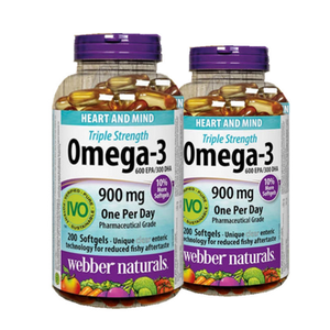 (Promotion Item) 2x Webber Naturals Triple Concentration Omega-3 900mg, 200 softgels
