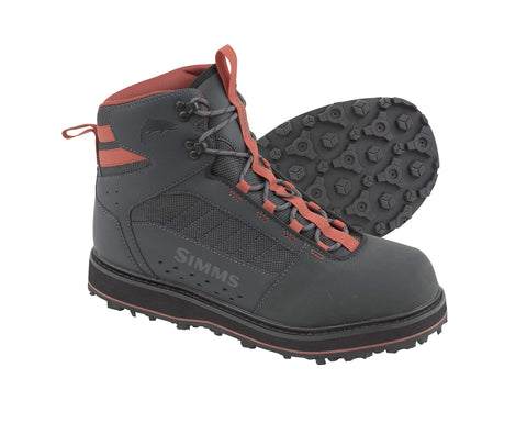 Rubber Sole Wading Boots Adult, Waterproof Fishing Boots, Carbon, 9 Simms - 5B outfitters