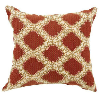 Accent Pillow With Red Pattern, Set Of 2