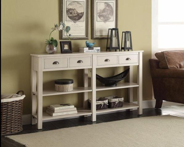 Console Table With 4 Drawers And 2 Shelves, Cream
