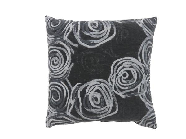 Contemporary Style Irregular Swirly Lines Set Of 2 Throw Accent Pillow- Black