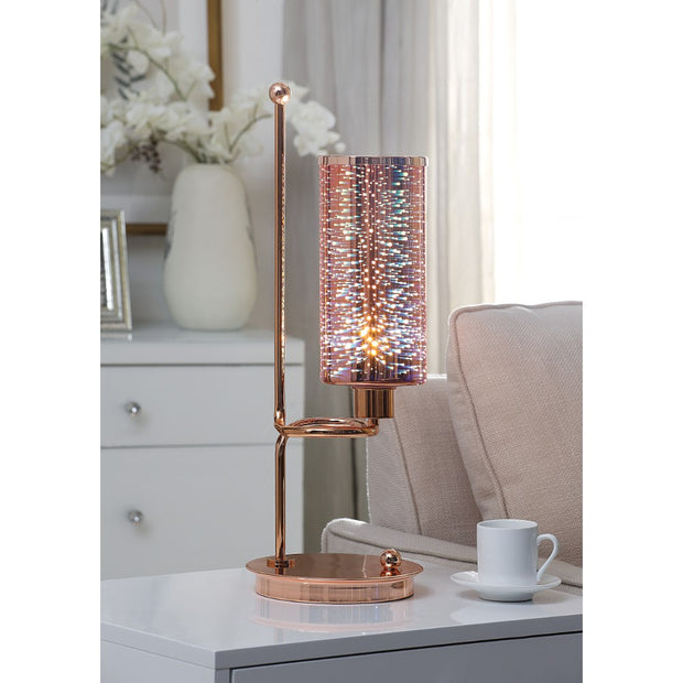 Glass Table Lamp With Cylindrical Shade, Gold