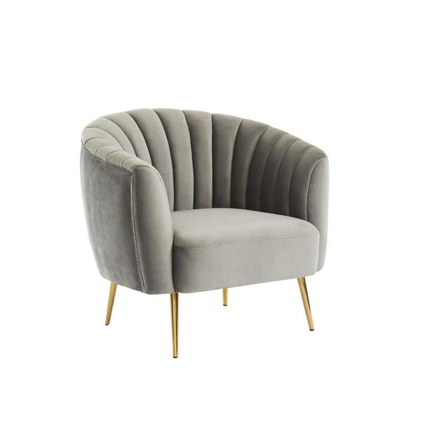 Accent Chair With Shell Tufting and Gold Finished Legs