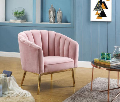 Accent Chair With Seashell Design Backrest, Pink And Gold