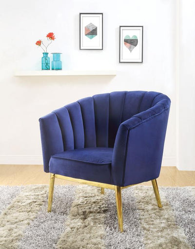 Accent Chair With Channel Tufting, Blue And Gold