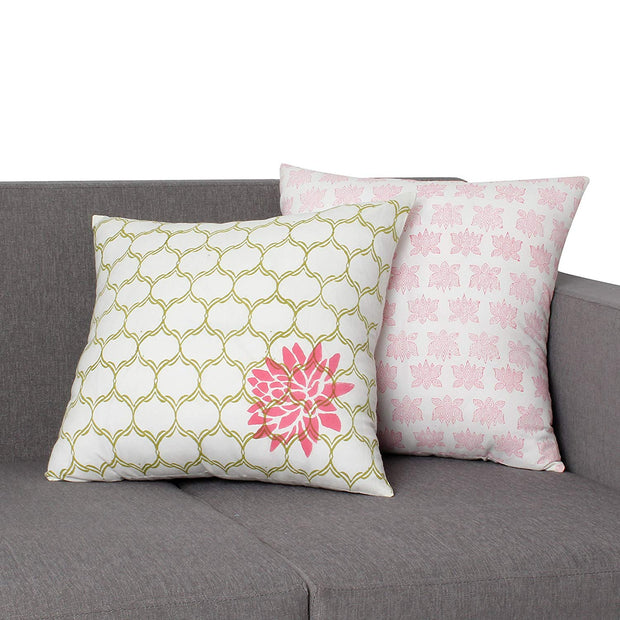 Quatrefoil Cotton Pillow With Floral Details, Set Of 2, Multicolor