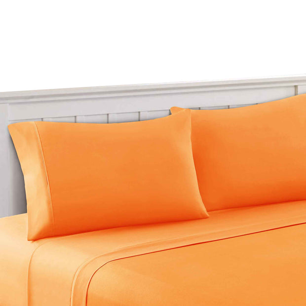 Bezons 4 Piece Microfiber Sheet Set With 1800 Thread Count, Green & Orange (King & Queen)