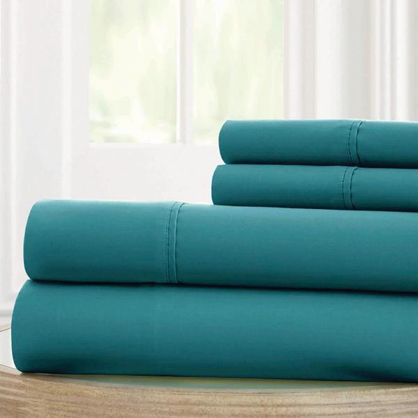Bezons 4 Piece King Size Microfiber Sheet Set With 1800 Thread Count, Teal Blue