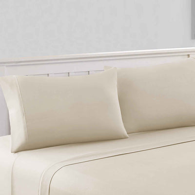 Bezons 4 Piece King Size Microfiber Sheet Set With 1800 Thread Count, Cream