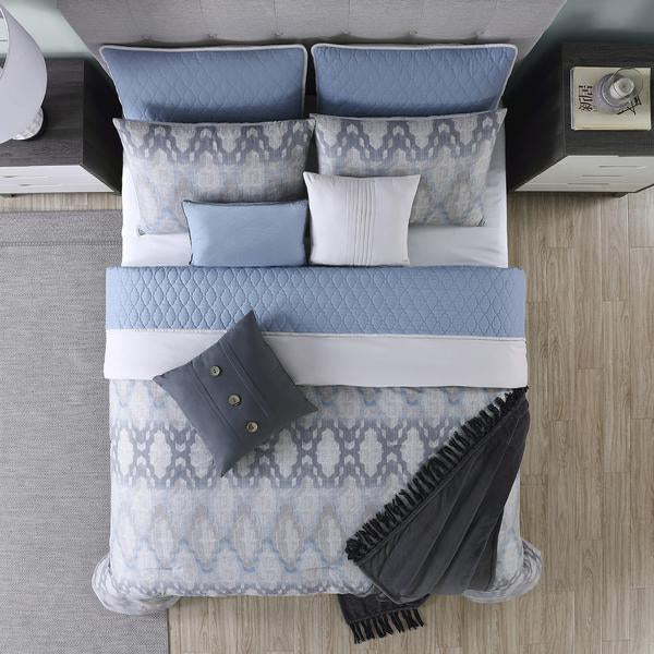 Andria 10 Piece Queen Size Comforter And Coverlet Set , Blue And Gray