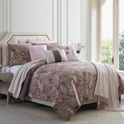Andria 10 Piece Queen Size Comforter And Coverlet Set , Brown And Pink