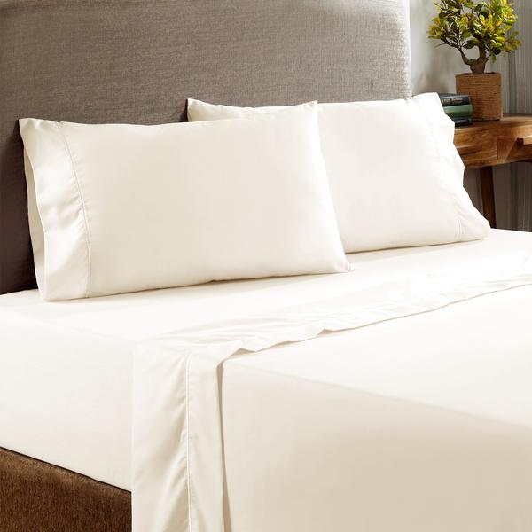 Prato 4 Piece California King Size Cotton Sheet Set With 400 Thread Count