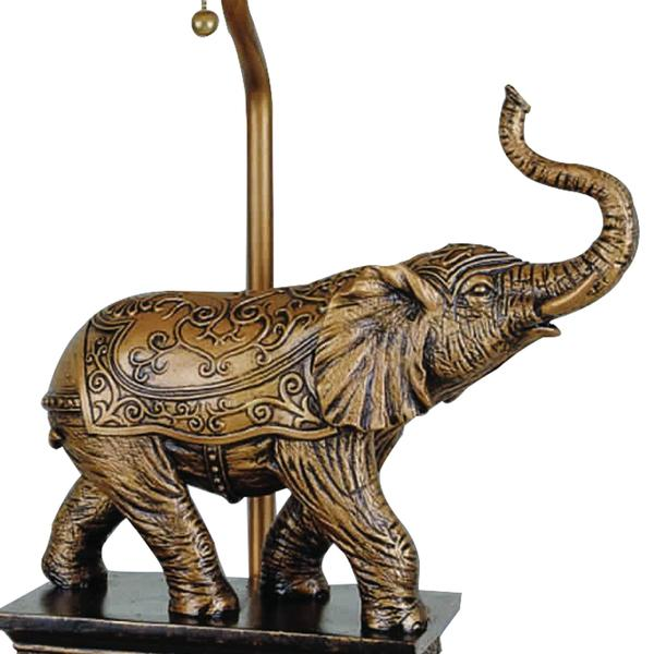 Elephant Table Lamp With Cut Corner Rectangular Shade, Set Of 4, Gold