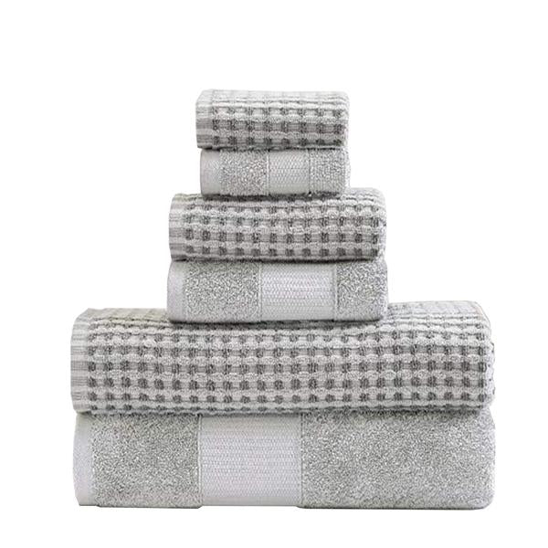 Porto 6 Piece Dual Tone Towel Set With Jacquard Pattern The Urban Port, Light Gray