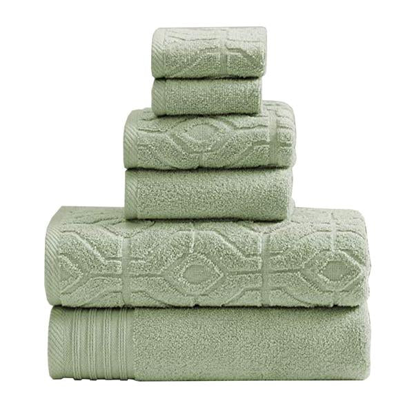 Granada 6 Piece Yarn Dyed Towel Set With Jacquard Stripe Pattern The Urban Port,Green