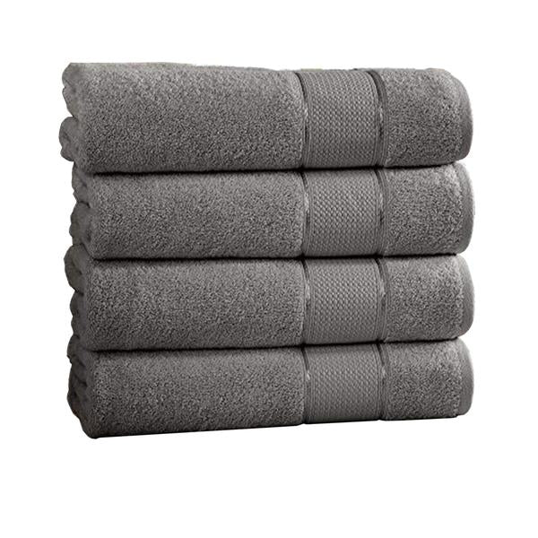 4 Piece Spun Loft Bath Towel With Twill Weaving The Urban Port, Charcoal Gray