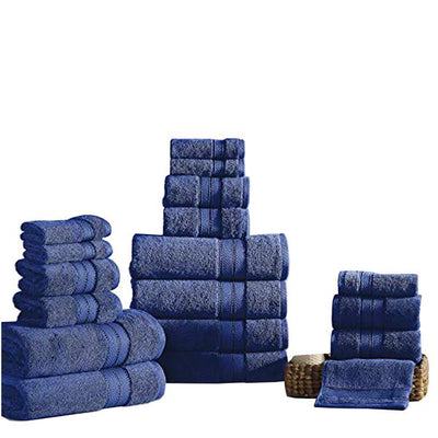 Bergamo 18 Piece Spun Loft Towel Set With Striped Pattern The Urban Port, Dark Blue