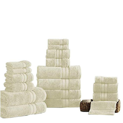 Bergamo 18 Piece Spun Loft Towel Set With Twill Weave The Urban Port, Cream
